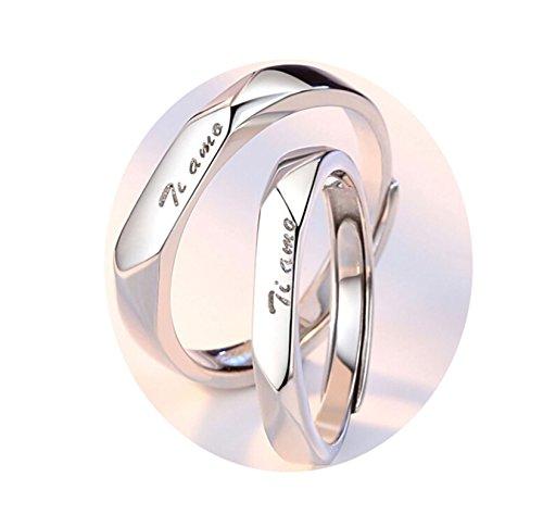 AnazoZ Herren Ring Partnerringe 925 Sterling Silber Solitärring Einfache Gravur Ti Amo Ringe Paare Offen Ring Verstellbar Silberring Hochzeitsring mit Kostenlos Gravur 57 (18.1)