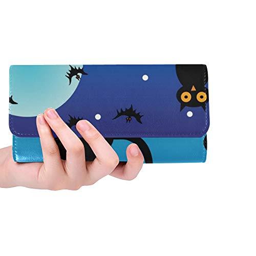 Einzigartige benutzerdefinierte Katze Eule Kürbisse dunkel auf Halloween Halloween Frauen Trifold Wallet Lange Geldbörse Kreditkarteninhaber Fall Handtasche