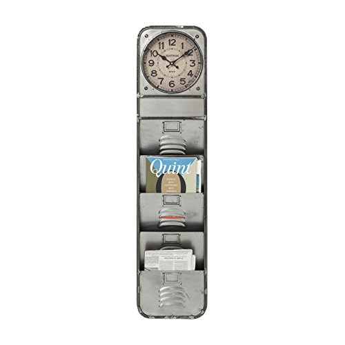 Wanduhr Thinktank Kontor, moderne, ausgefallene Designuhr mit Zeitungsständer für die Wand, Zeitschriftenständer im Vintage Design, silber (H/B/T) 124x30x7cm