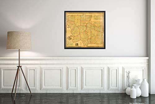 1856 Snedecor's Map of Greene County, Alabama, 1858, Historische Vintage-Wandkarte, 56 x 61 cm, fertig zum Einrahmen