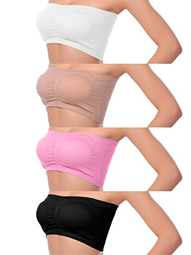 Keriber 4er-Pack Frauen Nahtlose Bandeau Crop Tube BH trägerlosen Top-BH mit Abnehmbaren Pad, 4 Farben (M, Set A)