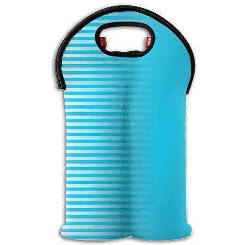 Gradient Color Stripe Blue 2 Bottle Wine Carrier Wine Tote Carrier Bag/Purse for Champagne, Wine, Water Bottles,Wine Bottle Carrier. -