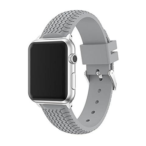 x-super iWatch Band 38mm Reifenprofil Sport Silikon Apple Armbanduhr Gummi Riemen für Nike +, Serie 2, Serie 1, Sport, Edition, grau