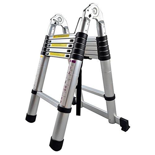 SAILUN® Teleskopleiter Klappleiter Ausziehleiter aus hochwertigem Alu Teleskop-Design Mehrzweckleiter, 12 Sprossen - 87cm bis 3,80m Anlegeleiter, 150 kg Belastbarkeit (3,8m klappbar)