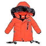 LPATTERN Junge Winter warme Baumwollkleidung Winterjacke, Orange, 122/128(Fabrikgröße: 130)