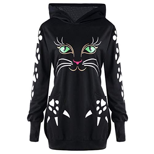 Bazhahei donna top,donna manica lunga felpa gattino stampa tumblr autunno inverno elegante sweatshirt casual maglietta tops-2018 moda pullover felpa con cappuccio top
