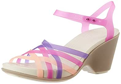 Crocs Women's Huarache Sandal Wedge W Vibrant Violet and Mushroom Rubber Fashion Sandals - 4 UK