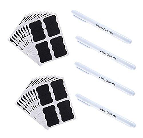 PDFans 72pcs Schwarz Tafel Sticker Küchen Etiketten,Kitchen Labels, Abnehmbare Reusable Vinyl-Sticker, Chalkboard Etiketten Mit 4pcs flüssige Kreide Marker für Gläser, Lebensmittel, Gewürz, Brille