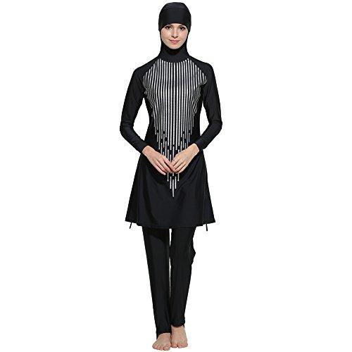 Rosennie Damen muslimischen Islamische moslemische Volle Abdeckungs Badebekleidung Bescheidene Beachwear Schwimmen Full Cover Kostüme Bademode Bikini Frauen Plus Size Swimsuit (L, Schwarz ()
