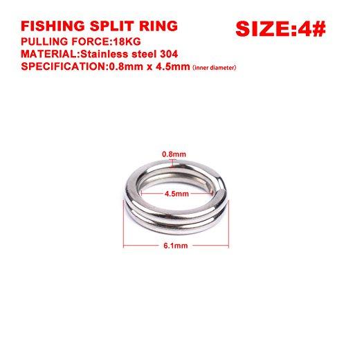 Etbotu accessori da pesca, 100 pezzi anelli in acciaio inox split per per esche in bianco crankbait hard bait, double loop cambio rapido round o rig 3# -8# argento antico 4#