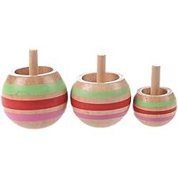 TOOGOO(R) 3pzs Peonza colorido de madera Juguete de ninos 3 tamanos para ninos mayores de 3 anos de edad
