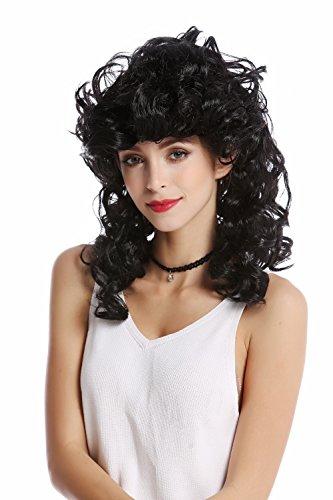 Wig me up - 0548-ZA103 Perücke Damen Karneval Halloween lang lockig toupiert schwarz Griechische Göttin Antike (Schwarze Griechische Göttin)