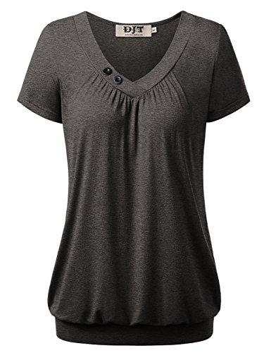 DJT Damen Basic V-Ausschnitt Kurzarm T-Shirt Falten Tops mit Knopf Grau-4 2XL -