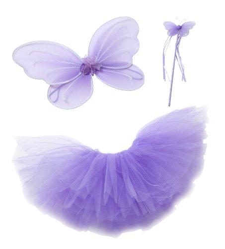 Lila Kostüm Fee Princessin Tutu-Set mit Lila Flügeln (Schmetterling/Fee) und Lila Schmetterlings-Zauberstab, als Verkleidung, für Kostümparty (3-teiliges Set) -- Medium (3-4 Jahre) (Drama Kostüm Medium)