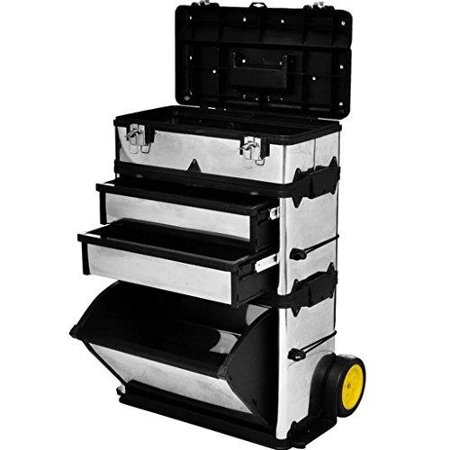 Festnight Werkzeugkasten Werkzeugkoffer Werkzeugkiste Werkzeug Aufbewahrungskoffer mit 15 cm Räder - Silber (Werkzeugkasten Mit Rädern)