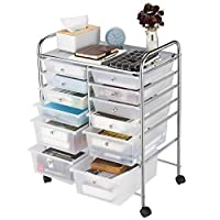 Rackaphile 12-Drawer Storage Trolley, Multipurpose Storage Drawer Rolling Cart, Storage Units with Locking Casters for Office Home Kitchen Living Room Kids Bedroom Studio Garage, White