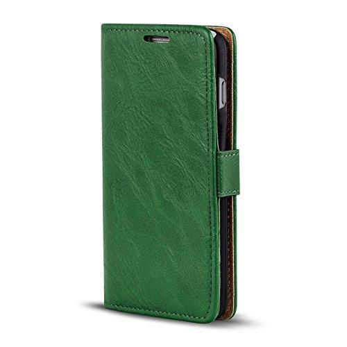 iPhone 5 / 5S / SE Bookstyle Hülle,Conie Mobile Handytasche Wallet Tasche PU Leder Schutzhülle Klapptasche, Kartenfächer, Book Case in Kastanienbraun Grün