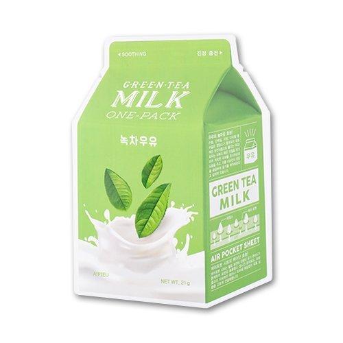 A´Pieu - Milk One Pack - Gesichtsmaske mit Milch-Extrakt und hydrolysierten Kollagen für die tägliche Reinigung, sowie für die Porenverengung und Mitesserbekämpfung für Frauen und Männer - Reinigungsmaske für trockene, fettige, gestresste und normale Haut / Mischhaut unisex - Gesichtsmasken & -kuren - Hautpflege - Gesichtspeelings - Fango -Cremes - Körperpeelings - Tagespflege (Green Tea Milk)