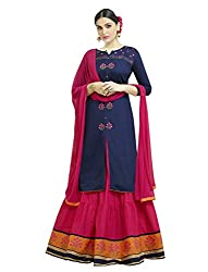 Viva N Diva Lahenga For Womens Navy Blue Cotton Party Wear Embroidered Lahenga Choli,(Un-Stitched,Free Size)