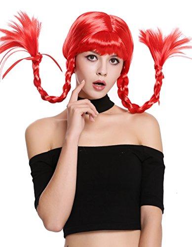 5-PC13 Perücke Damenperücke Karneval Halloween Freche Göre Lolita steife geflochtene Zöpfe rot Pony (Pippi Langstrumpf Perücken)