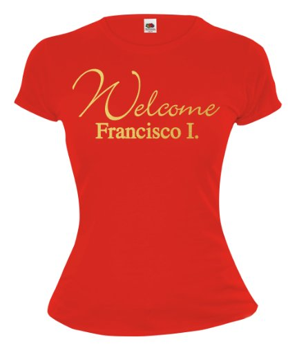 buXsbaum® Girlie T-Shirt Welcome Francisco Red-Gold