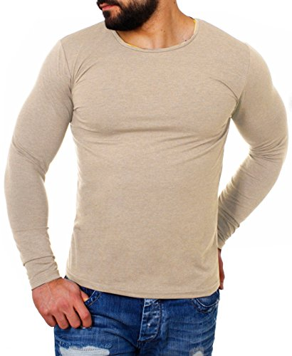fdeae95f9b77 Young Rich Herren Longsleeve Rundhals Ausschnitt Langarm Shirt Einfarbig  Slimfit mit Stretchanteilen Uni Basic Round-Neck