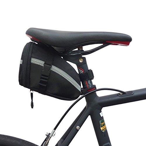 BTR Satteltaschen für Fahrrad. Kompakte Fahrradtasche. Schwarz/Silber. Wasserbeständig
