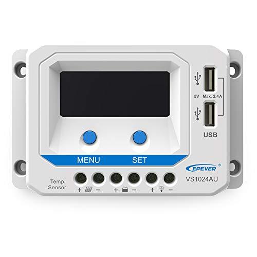 NOBLJX 10A 12V/24V Solar-Controller-Regulator mit LCD-Bildschirm Display Dual USB-Stick für Home Power Supply System Traffic Indicator Solar Street Light System Etc 10a Power Supply Box
