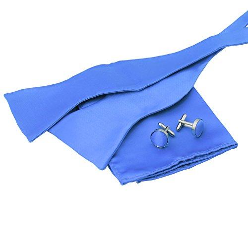 BT1006 Fitted Zubehör Hellblau Plain Seide Selbst Fliegen Taschentuch Manschettenknöpfe Elegante Geschenk-Idee für Herren-Geschenk von Epoint Hellblau Cummerbund-set