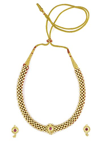 Womens Trendz Traditional Handmade Jewellery Kolhapuri 24K Gold Plated Alloy Necklace and Earring Set for Women and Girls  available at amazon for Rs.500