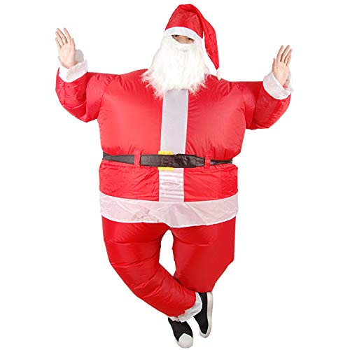 Tofree Santa Claus - Traje Hinchable con Ventilador de Barba y Sombrero, Disfraz de Padre de Navidad para Hombre y Mujer de 59 a 75 Pulgadas de Alto