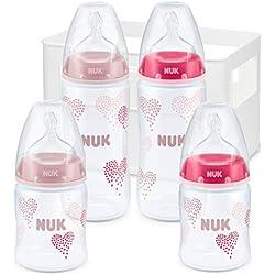 NUK Kit de 4 Biberons First Choice+, 2x 150ml et 2x 300ml, Silicone, 0-6 Mois, anti colique, Sans BPA, Rose (fille)