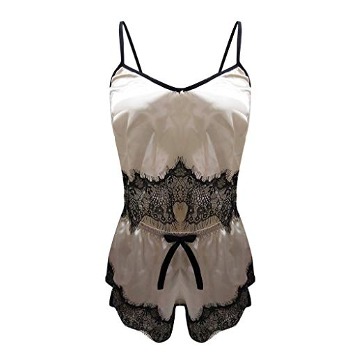 CICIYONER Damen Nachthemd Unterwäsche Sexy Satin Sling Nachtwäsche Dessous Spitze Bowknot S-2XL