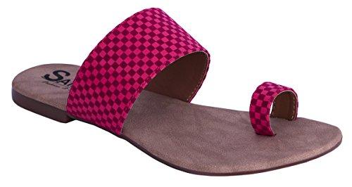 Sammy dames check plat pantoufle chiquenaude mode flops chaussures en plein air sandale Rose