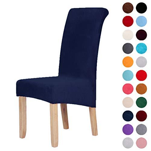 Homaxy Velvet Stretch Esszimmerstuhl Hussen - Spandex Plüsch Stuhlhussen Solide Großes Esszimmer Stuhl Protector Home Decor Set 2, Marine Blau