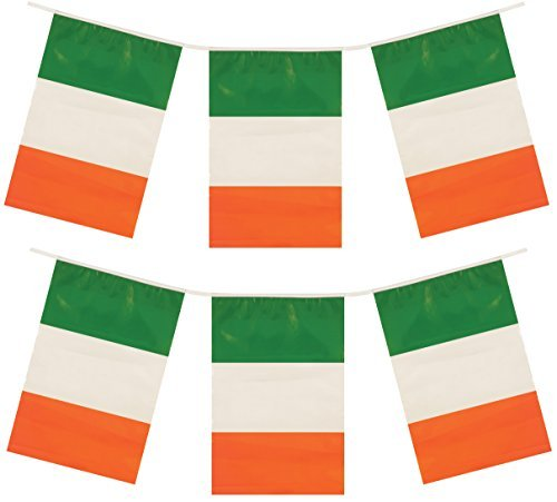 icks Tag Eire Party Plastik Dekorationen WIMPEL FLAGGEN - grün, weiß, orange, 12ft of Bunting (Bunting Irland)