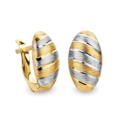 14 Karat 585 Gold Ohrringe Creolen Bicolor Matt & Glänzend Ohrschmuck – SIT15 (Gold Creolen Kleine 14kt)