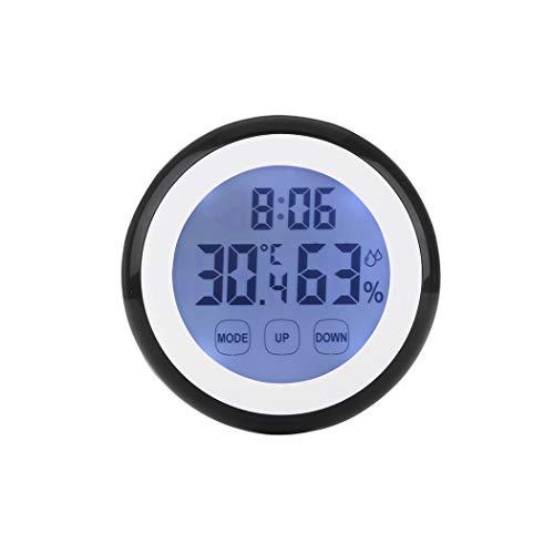 Jane Love Wall Clock Wanduhr, Kunststoff, Digitale Temperatur, Luftfeuchtigkeit, Zeitfunktion, Wanduhr, Innen-Wetterstation, Messgerät, LCD-Hintergrundbeleuchtung, Uhren One Size schwarz