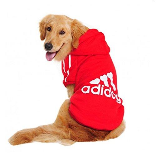 Costume felpa rossa con cappuccio Adidog per cane e gatto taglia XXL