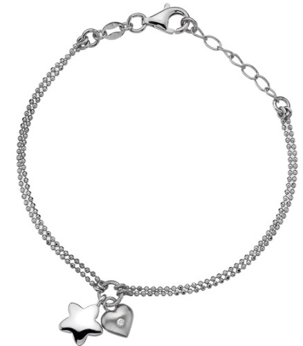 Lily & Lotty Rhodium Plated 925 Sterling Silver Hand Set Diamond Elsie Heart and Star Charm Bracelet 18.75 cm