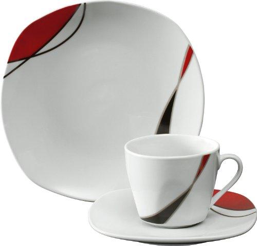 Gepolana Kaffeeservice 18-tlg. Porzellan dunkelrot
