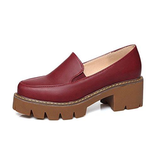 Rund AllhqFashion Material Auf Weiches Schuhe Weinrot Zehe Damen Mittler Pumps Ziehen Rein Absatz rr45qW