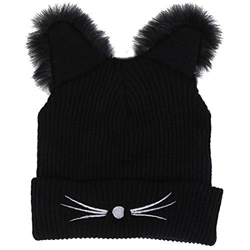 Belsen Damen Winter Katze Ohr Beanie Strickmützen Wolle Skull Cap (Halloween-katze Ohren Uk)