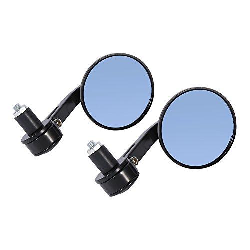 Qiilu 7/8' Universal Espejos laterales de moto motocicleta, par de espejo trasero de manillar Cromo