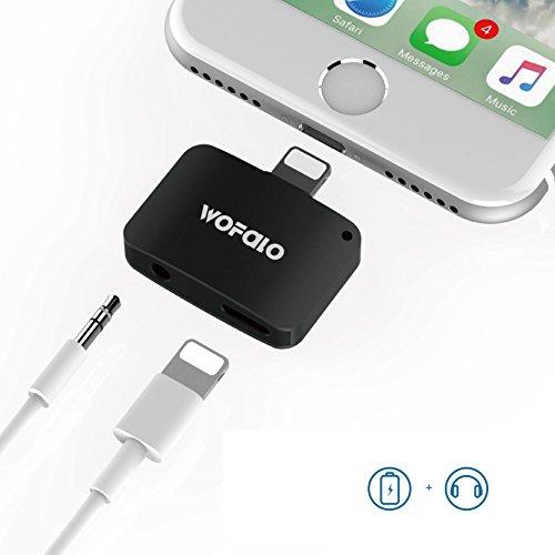 2 in 1 Lightning Adapter für iPhone 7/7 Plus,Wofalo 2nd Generation Lightning auf AUX Audio 3.5mm Kopfhörer und Aufladen Kabel Splitte rKompatibel mit iOS 10.3 iOS 10.3 ( Oberhalb oder unterhalb iOS 10.3 system) (Schwarz)