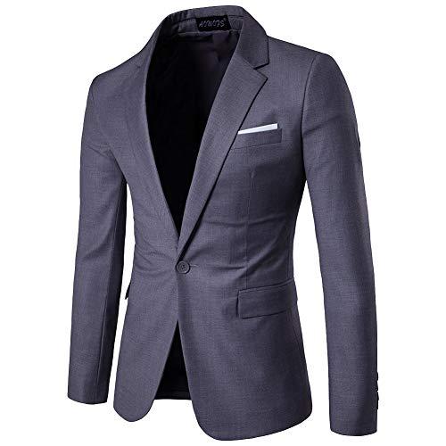 Missmaom slim fit casual one button elegante vestito di affari cappotto giacca  blazers uomo grigio scuro 1ed37dd6220