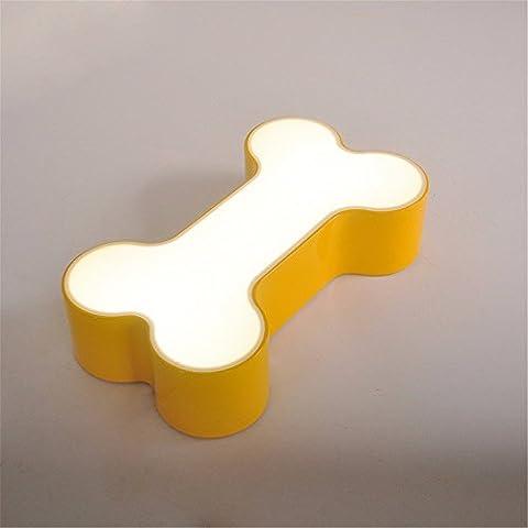 DIDIDD Farbe cartoon kinder lampe lichter schlafzimmer neue kreative knochen-form lampe schöne kuppel lampe,Gelb 60cm 32w
