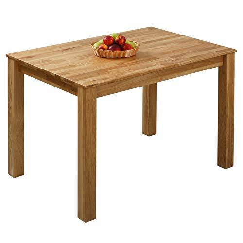 Massivholz Tisch (Krokwood Bonn Massivholz Esstisch in Eiche 110x75x75 cm FSC 100% massiv Tisch geölt Eichenholz Esszimmertisch für Küche praktischer Küchentisch fester Holztisch vom Hersteller und kostenlose Lieferung)