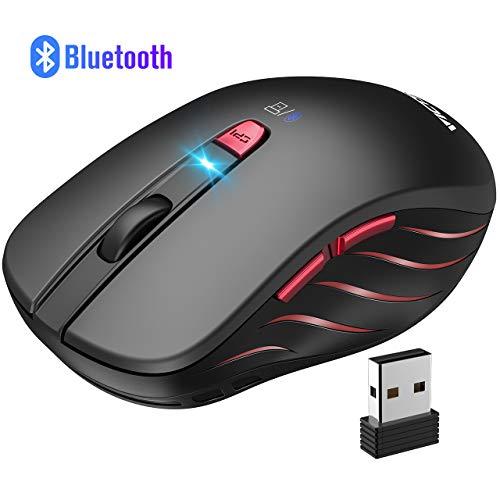 VicTsing Bluetooth Maus+2.4G Funkmaus(Dual-Mode), Bluetooth 4.0, 5 verstellbare DPI kabellose Maus, für Laptop,PC, Android Tablet, Schlafmodus für PC, Laptop,Notebook, MacBook, Office, Home-Schwarz -