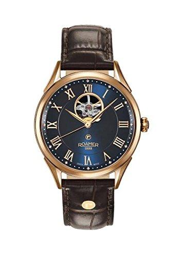 Roamer Reloj Automático de Hombre con Esfera analógica Azul Pantalla y Correa de Piel Color marrón 550661494205